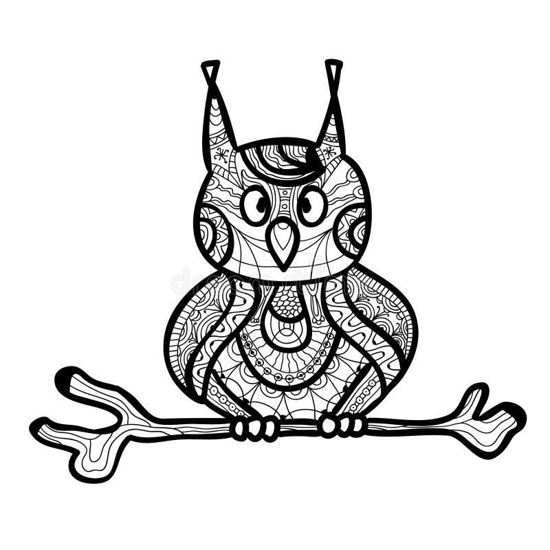 Zantangle sowy handmade odosobniony wektor na białym tle zwierząt inkasowy wizerunku wektor Barwić stronę dla dorosłych ilustracji
