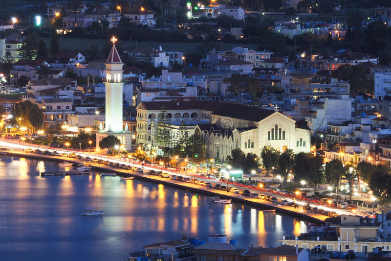 Zante镇扎金索斯州希腊在晚上 城市的中心,在t附近 免版税图库摄影