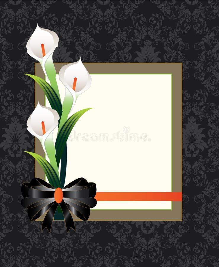 Carte florale de damassé de mariage illustration de vecteur