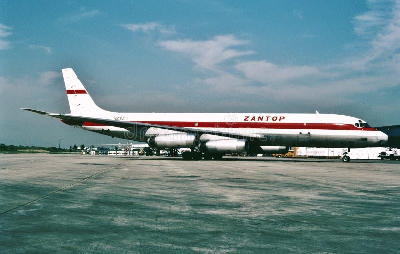Zantop International Airlines Douglas DC-8-62F N8152A. CN 46024 LN 428 at Willow Run Airport KYIP, Ypsilanti Michigan on August 1, 1987 royalty free stock photos