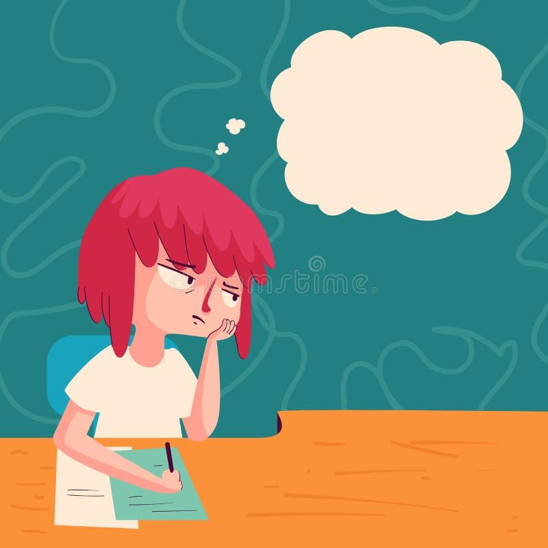 Zanudzająca dziewczyna z myśl balonem ilustracji