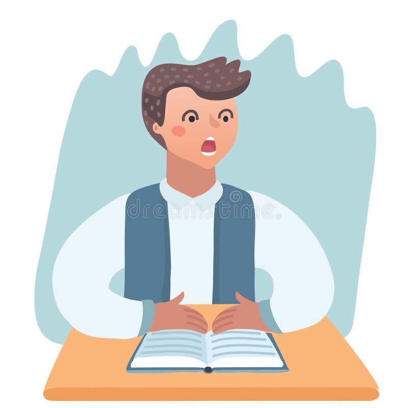Zanudzający dzieciak robi pracie domowej lub obsiadaniu na nudnej szkoły lekci Śliczna kreskówka wektoru ilustracja royalty ilustracja