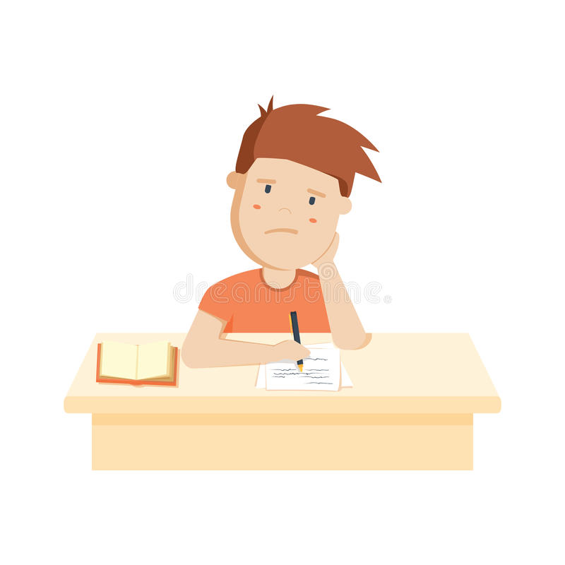 Zanudzający dzieciak robi pracie domowej lub obsiadaniu na nudnej szkoły lekci ilustracji