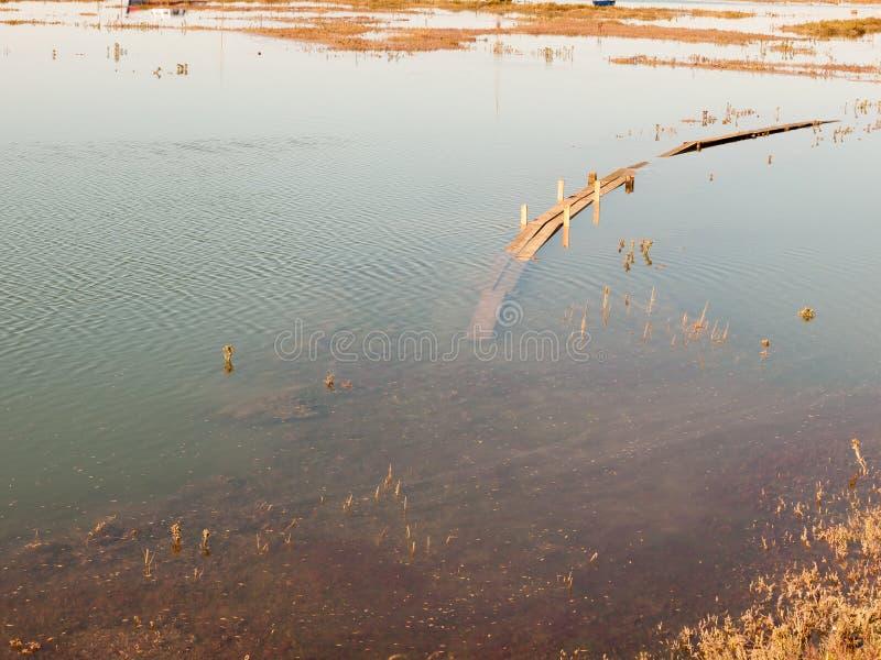 Zanurzający drewniany przejście w dockland w wodzie morskiej zdjęcia stock