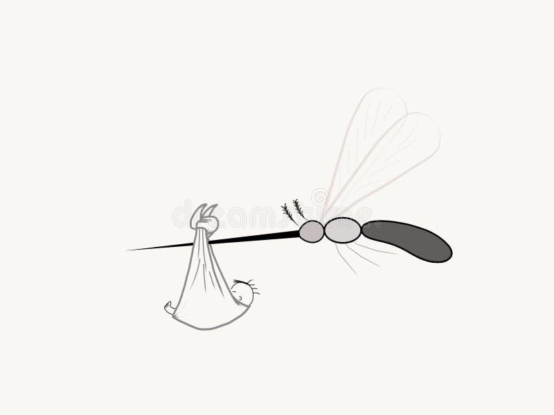 Zanzara che porta il virus di Zika e un neonato illustrazione vettoriale
