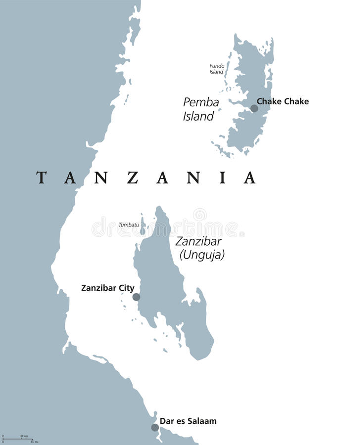 Free Zanzibar And Pemba Tanzania Political Map Royalty Free Stock Image - 96335456