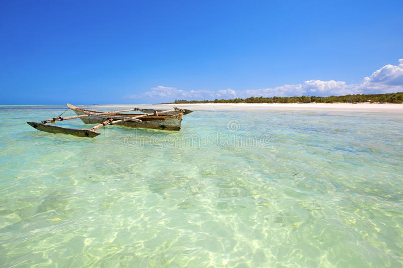Zanzibar beach. Crystal clear waters at Zanzibar beach in Tanzania stock images