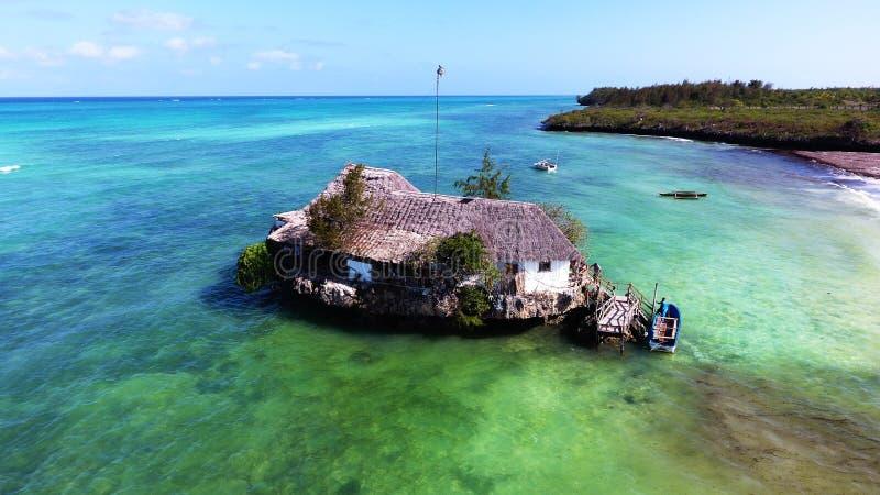 Zanzibar coast aerial view the Rock restaurant stock photo