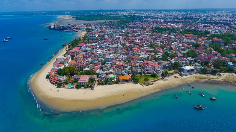 Zanzibar Stone Town coastline aerial view Tanzania royalty free stock image
