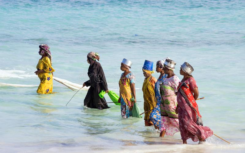African women from a fishing village are catching small fish off the coast of the ocean. Zanzibar, Tanzania, East Africa - June 23, 2017: african women from a royalty free stock images