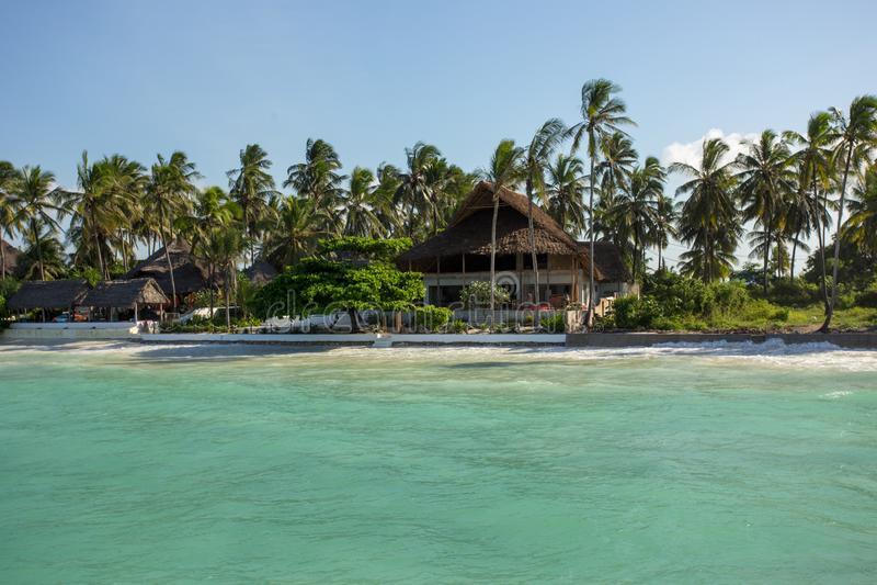 Zanzibar, turkooise overzees, unieke aard, paradijseiland stock afbeelding