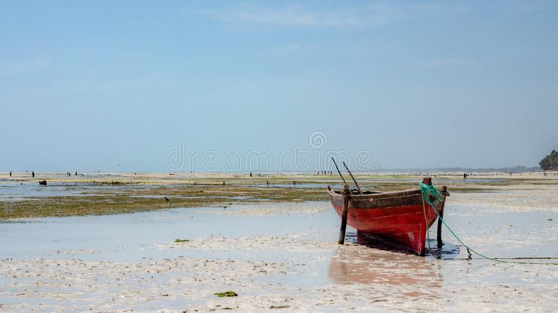 Zanzibars小船,桑给巴尔坦桑尼亚,2019年2月 库存图片