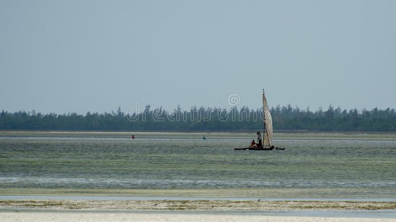 Zanzibars小船,桑给巴尔坦桑尼亚,2019年2月 免版税库存图片
