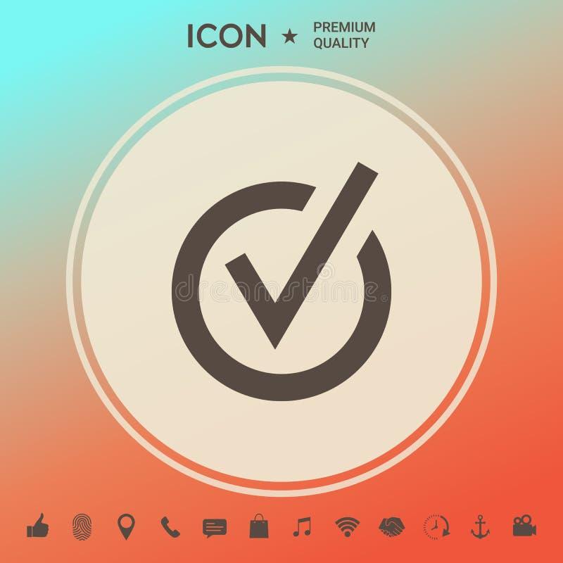Zaokrąglona czek oceny ikona ilustracji