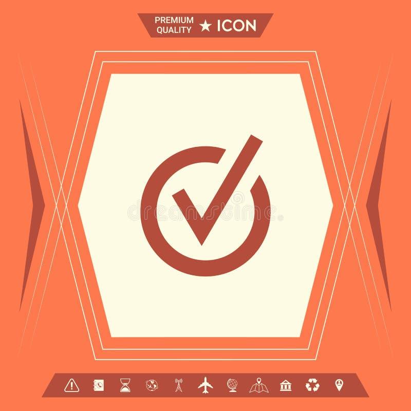 Zaokrąglona czek oceny ikona royalty ilustracja