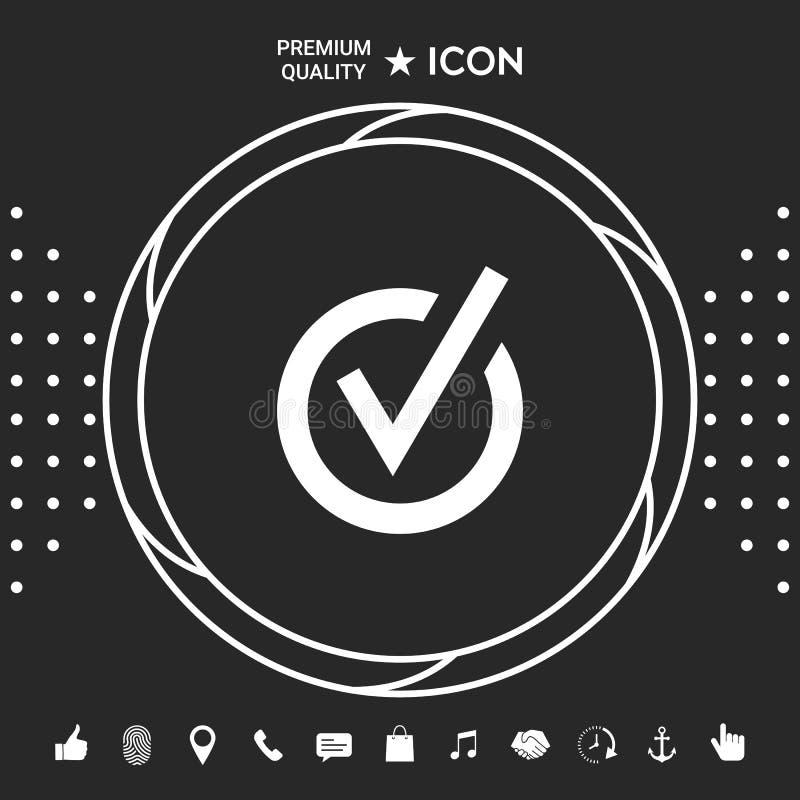 Zaokrąglona czek oceny ikona Graficzni elementy dla twój designt ilustracja wektor
