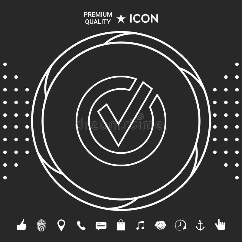 Zaokrąglona czek oceny linii ikona Graficzni elementy dla twój designt ilustracja wektor