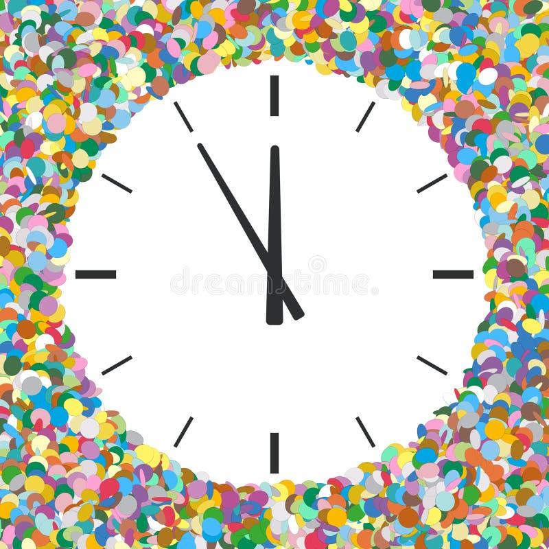 Zaokrąglony Bezpłatnego teksta teren Tworzący Colourful confetti z zegarem ilustracja wektor