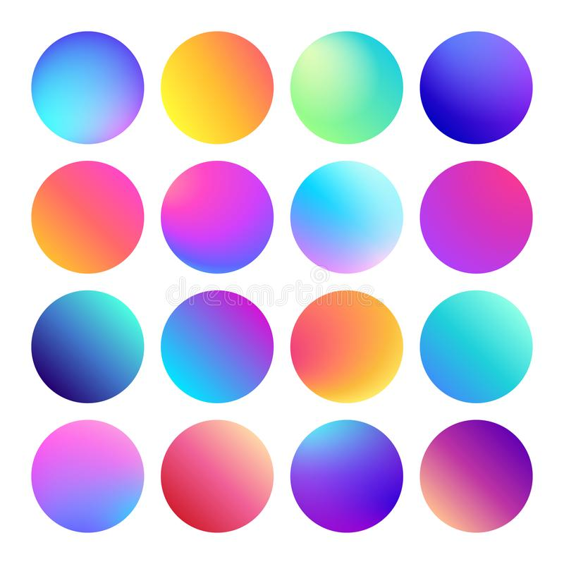 Zaokrąglony holograficzny gradientowy sfera guzik Multicolor rzadkopłynni okregów gradienty, kolorowi round guziki lub żywy kolor ilustracja wektor