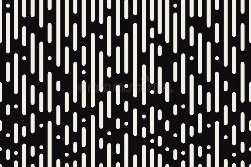 Zaokrąglonych linii bezszwowy wzór Czarny i biały tło z abstrakcjonistycznym dynamicznym round paskuje i okręgi wektor royalty ilustracja