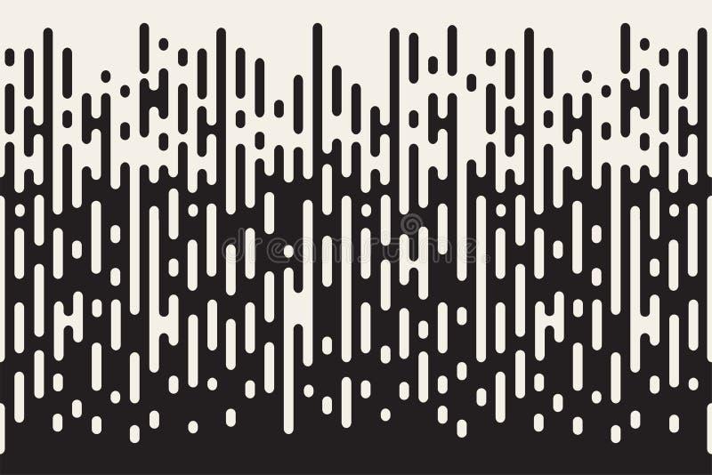 Zaokrąglonych linii bezszwowy wzór Czarny i biały tło z halftone przemianą ilustracji