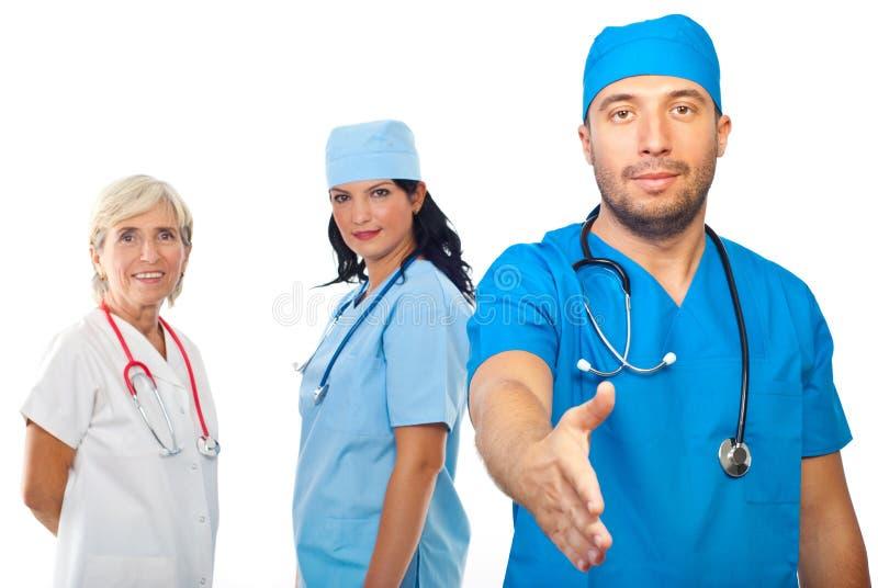 Zaopatrzenie medyczne uścisk dłoni ludzie zdjęcia stock