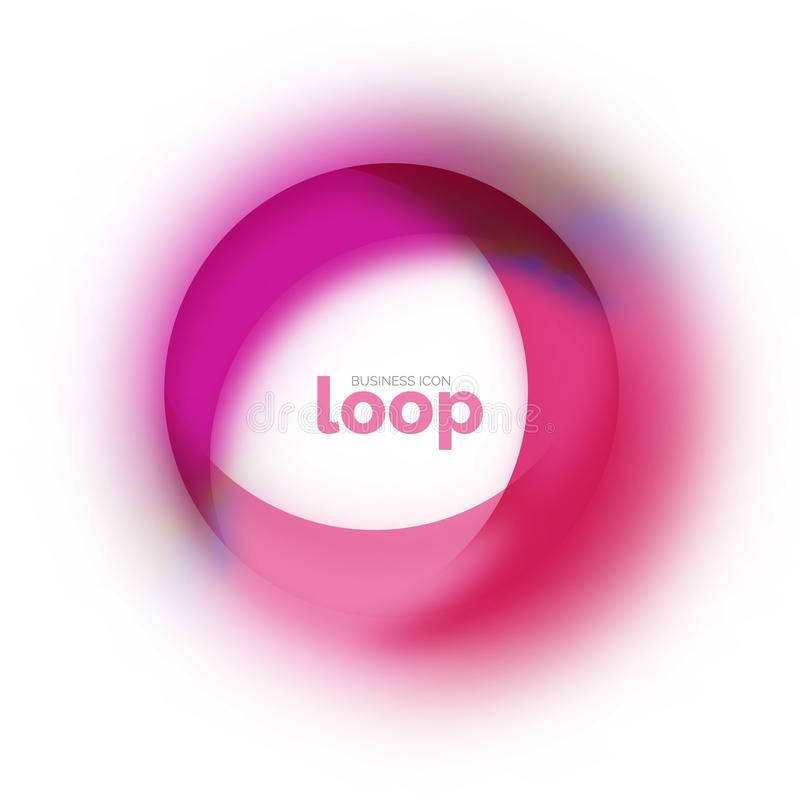 Zapętla okrąg biznesową ikonę, tworzącą z szklanymi przejrzystymi kolorów kształtami ilustracji