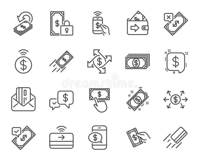 Zapłat kreskowe ikony Set Akceptuję przeniesienie, wynagrodzenie z telefonem i karta poczta, wektor ilustracja wektor