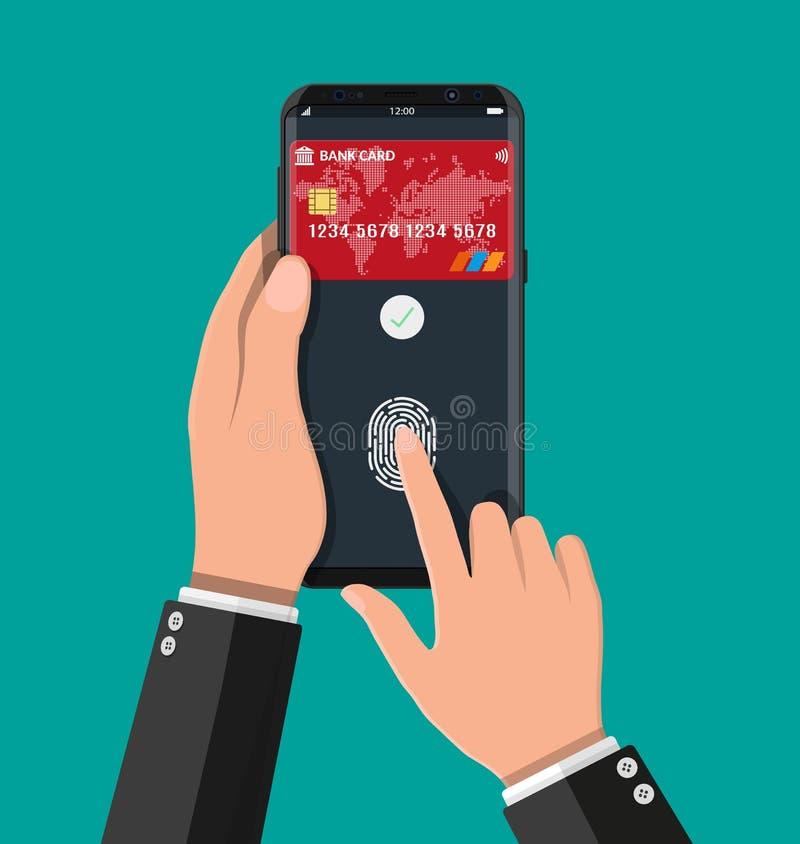 Zapłata app z bank kartą na smartphone ilustracja wektor