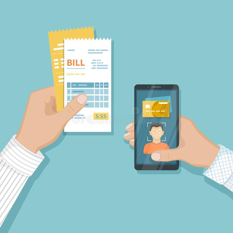 Zapłata dla towary i usługi używać twarzy rozpoznanie I identyfikację, twarzy ID na smartphone Online rachunek zapłata przez tele ilustracji