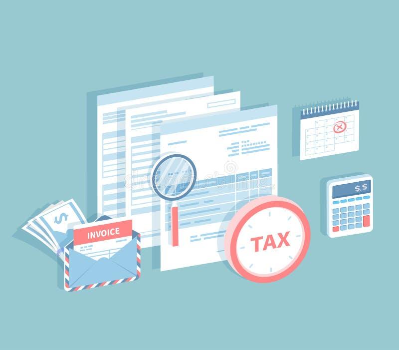 Zapłata konta i podatki Podsadzkowa i kalkulatorska podatek forma Dokumenty, koperta z fakturą, kalendarz z ocenioną datą, ca ilustracji