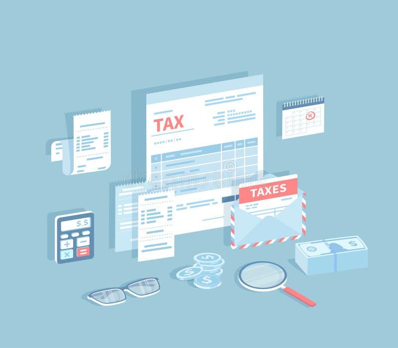 Zapłata konta i podatki Podsadzkowa i kalkulatorska podatek forma Dokumenty, koperta z podatkiem, kalendarz, kalkulator, rachunki ilustracja wektor
