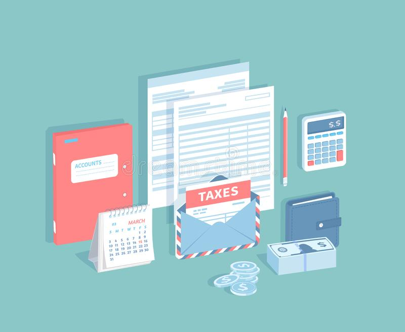 Zapłata konta i podatki Podsadzkowa i kalkulatorska podatek forma Dokumenty, koperta z podatkiem, kalendarz z ocenioną datą royalty ilustracja