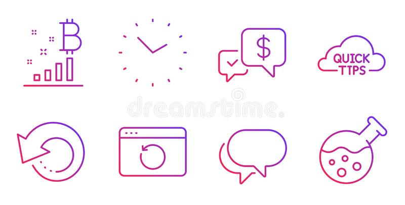 Zapłata otrzymywająca, rozmowy bąbel i Szybka porady ikona ustawiający, Wyzdrowienie internet, dane znaki, czasu i wyzdrowienia w ilustracja wektor