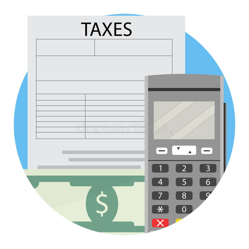 Zapłata pieniężna podatek ikona royalty ilustracja