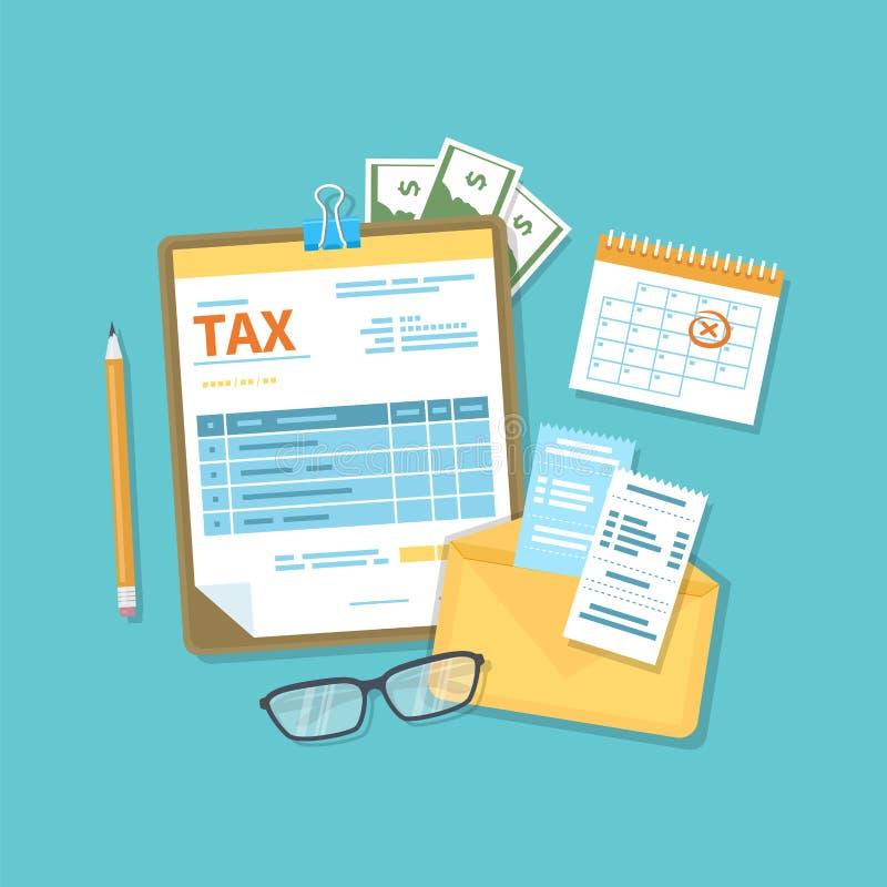 Zapłata podatek, konta, wystawia rachunek pojęcie Pieniężny kalendarz, podatek forma dla schowka, koperta z czekami, pieniądze, g royalty ilustracja
