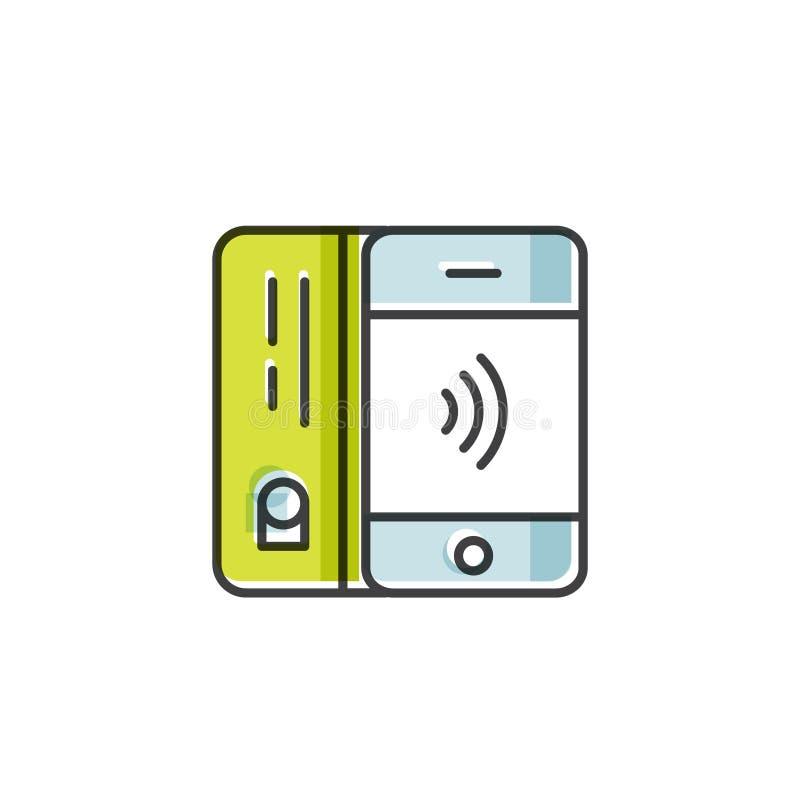 Zapłata robić przez telefonu komórkowego NFC zapłaty w mieszkanie stylu Płaci lub robić zakupowi contactless lub bezprzewodowy sp ilustracji
