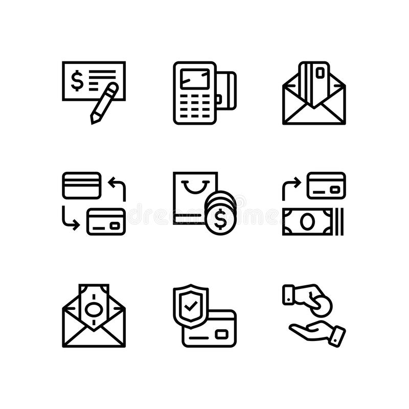 Zapłaty, pieniądze, finanse, karty i gotówki wektor, wykłada ikony dla sieci 3 i mobilnej projekt paczki ilustracji