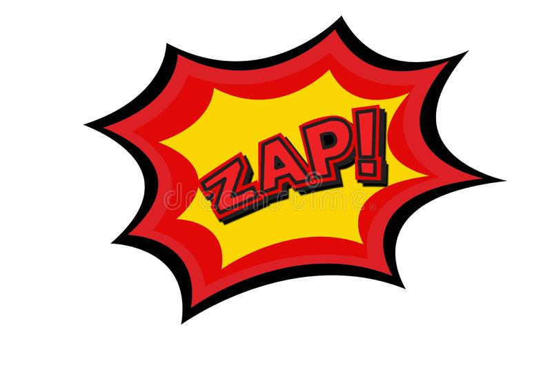 Zap comic text on white. Lettering Zap comic text. Sound bubble speech word on white background stock illustration