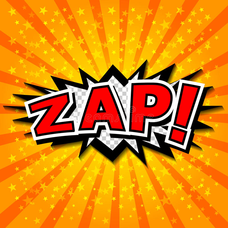 Zap! - Komische Sprache-Blase, Karikatur. lizenzfreie abbildung