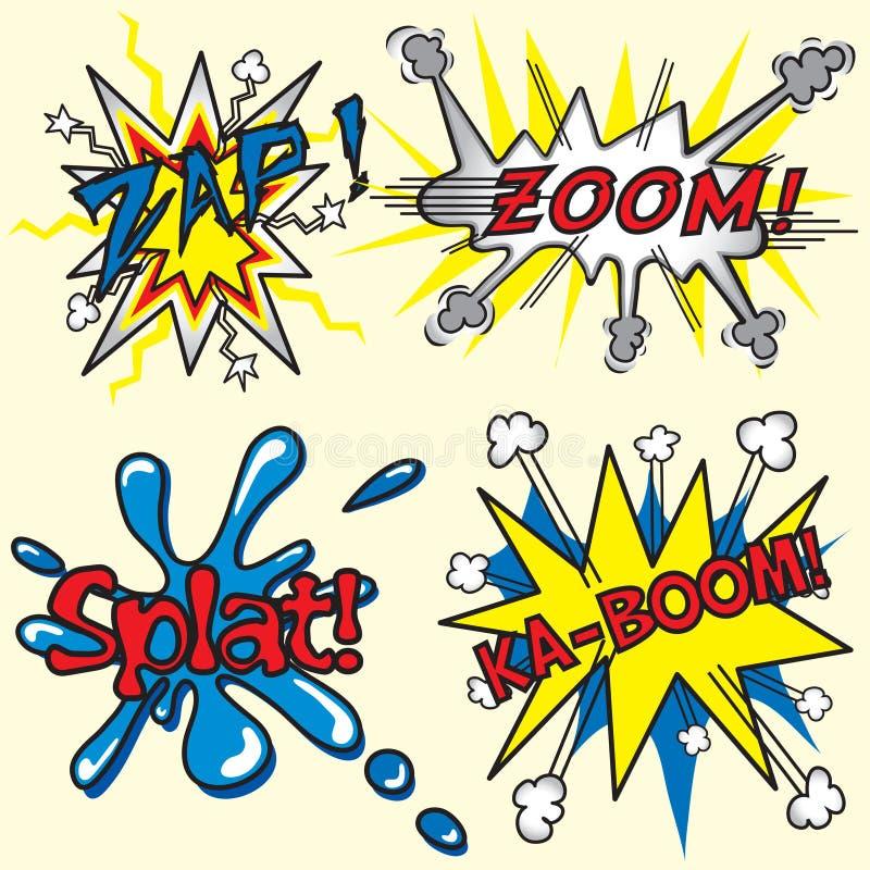 Zap, zumba, Ka-Crescimento, Splat! ilustração royalty free