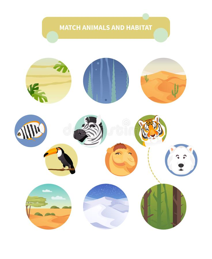 Zapałczani zwierzęta i siedlisko royalty ilustracja