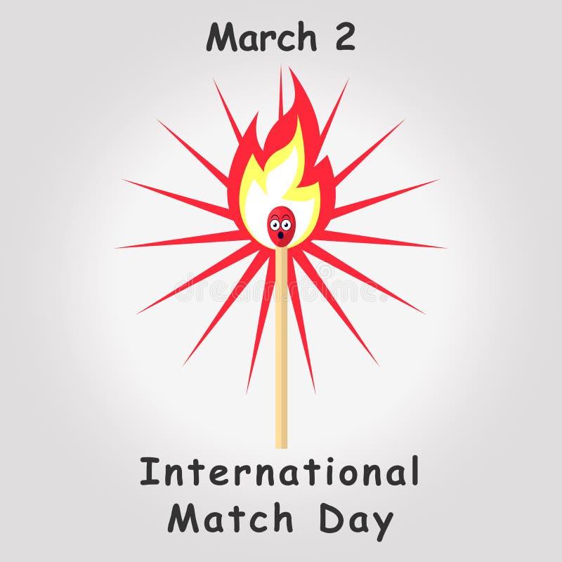 Zapałczany dnia plakat Płonący dopasowanie z ogieniem, palący matchstick ilustracji