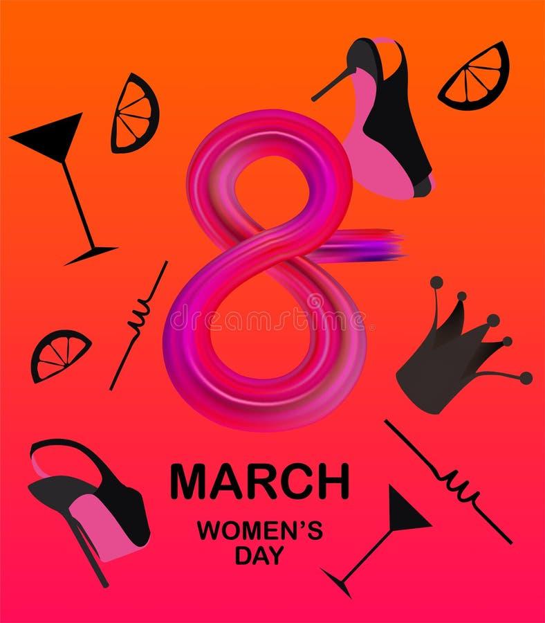 8 zapałczany sztandar z kobieta przedmiotami ilustracja wektor