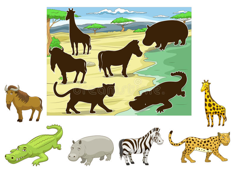 Zapałczani zwierzęta ich cień edukacyjna gra ilustracji