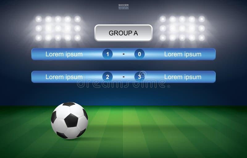 Zapałczany rozkład piłki nożnej futbolowa filiżanka z piłki nożnej piłki stadium tłem ilustracja wektor