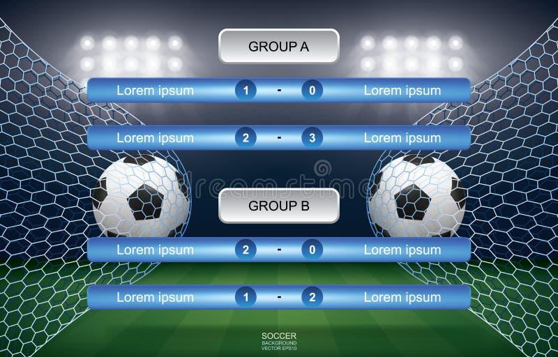 Zapałczany rozkład piłki nożnej futbolowa filiżanka z stadium tłem ilustracji