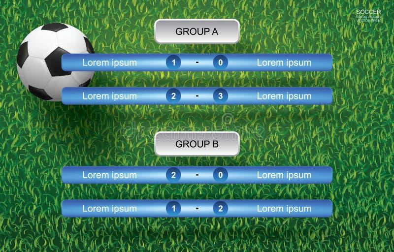 Zapałczany rozkładu tło dla piłki nożnej futbolowej filiżanki z piłki nożnej piłką na trawie royalty ilustracja