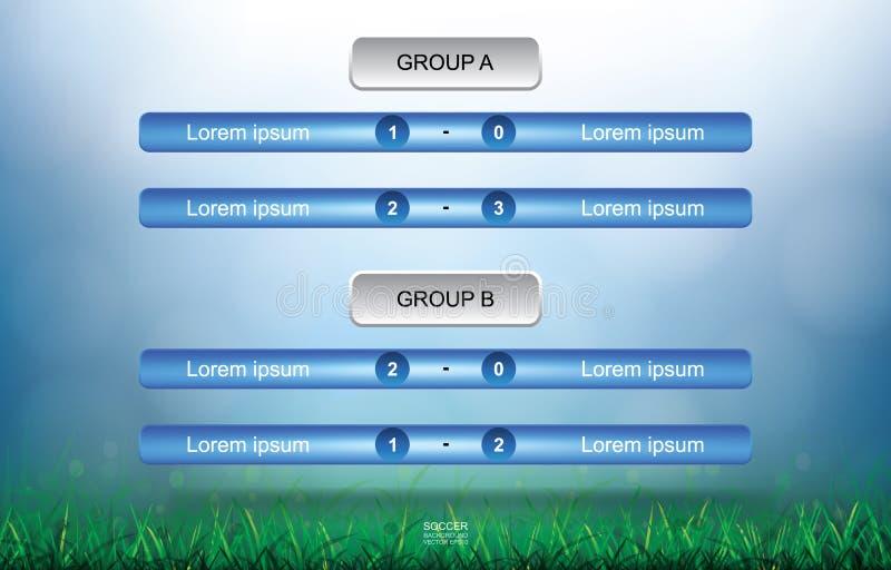 Zapałczany rozkładu tło dla piłki nożnej futbolowej filiżanki z zielonej trawy pola tłem royalty ilustracja