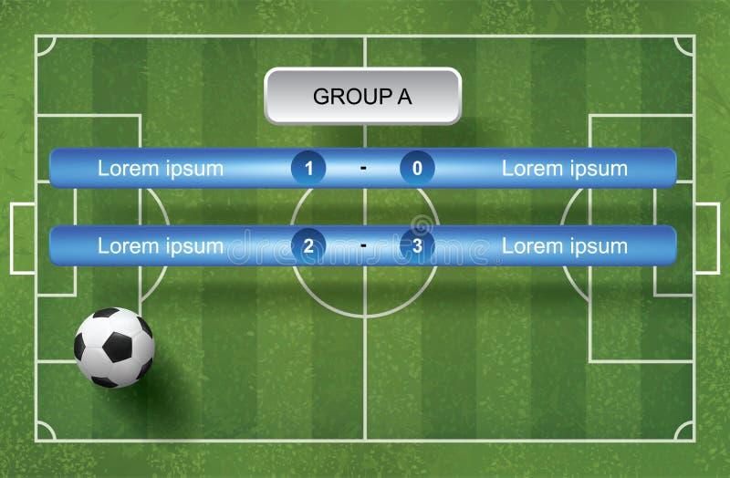 Zapałczany tablica wyników rozkładu tło z piłki nożnej piłką i zieloną trawą royalty ilustracja